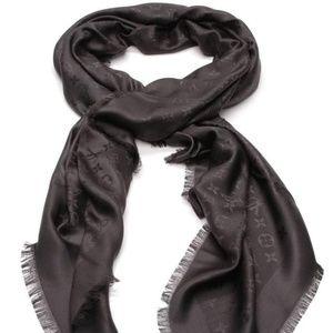 Black Lv Monogrammed Oversized Shawl Scarf/Wrap